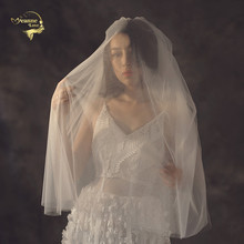 2019 Fashion Bridal Veils Short Wedding For Bride Fingertip Veil Tulle White Ivory Accessories Voile Mariage JVA001