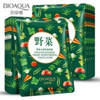10 Teile/los BIOAQUA Gemüse Konzentrat Feuchtigkeit Gesichtsmaske Hyaluronsäure Bleichen Schrumpfen Poren Anti-falten Hautpflege