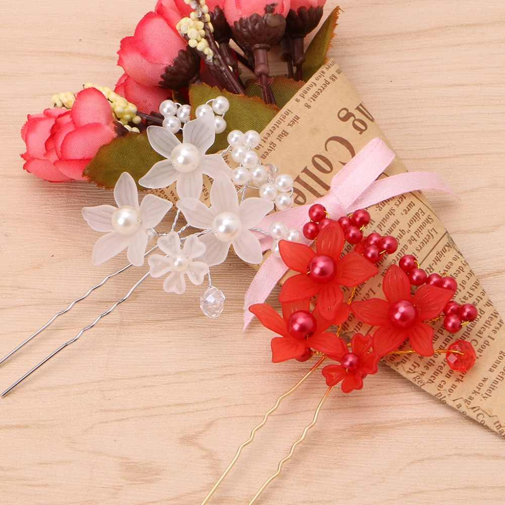 JAVRICK Trendy Wedding Bride Rhinestone Flower Pearl Hair Pins Clip Head Hairpin Accessories  Women