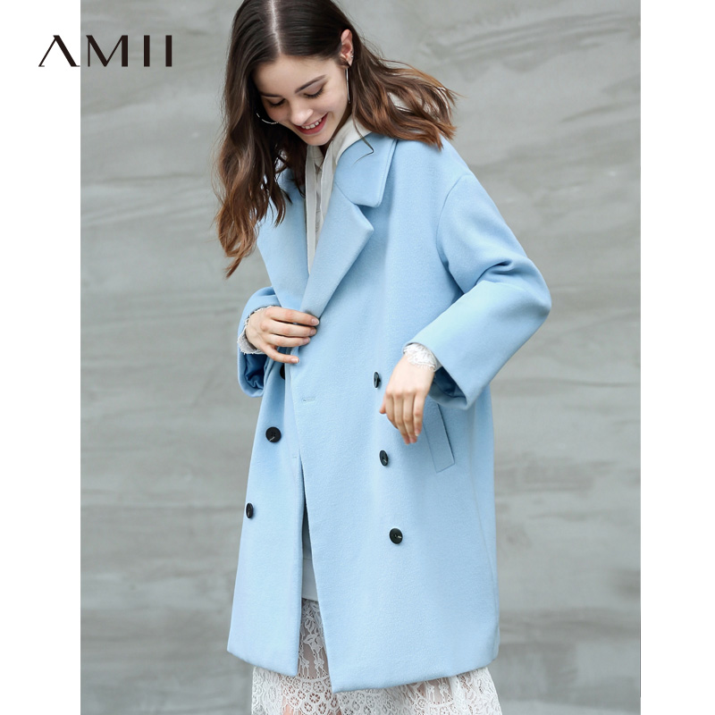 Amii Minimalist Women Sky Blue Wool Coat Autumn Winter 2018 Causal Solid Double Breasted Turn Down