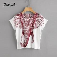 c6d2c0d456a354 ROMWE Elephant Print T Shirt Women Round Neck Short Sleeve Summer Tops 2018  Loose