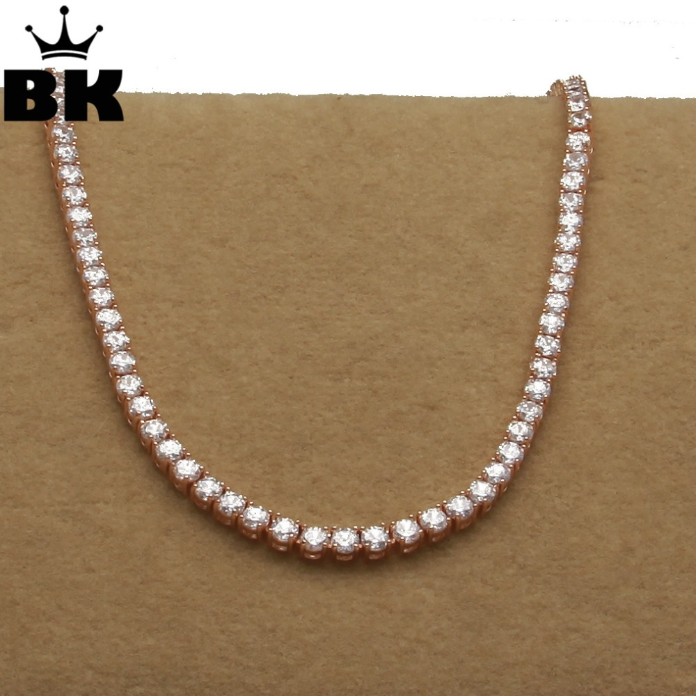 THE BLING KING 1 Row Rose Gold 5mm CZ Tennis Chains Necklace Copper Hip Hop Round Cut Iced Out Cubic Zirconia Mens JewelryTHE BLING KING 1 Row Rose Gold 5mm CZ Tennis Chains Necklace Copper Hip Hop Round Cut Iced Out Cubic Zirconia Mens Jewelry