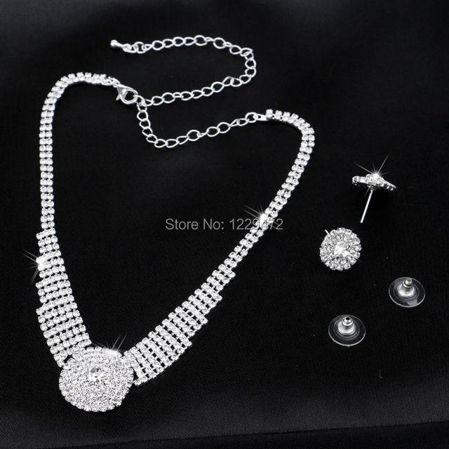 TREAZY Sparkling Silver Color Rhinestone Chunky Choker Necklace Earrings Jewelry Set Elegant Crystal Wedding Bridal Jewelry Sets 2
