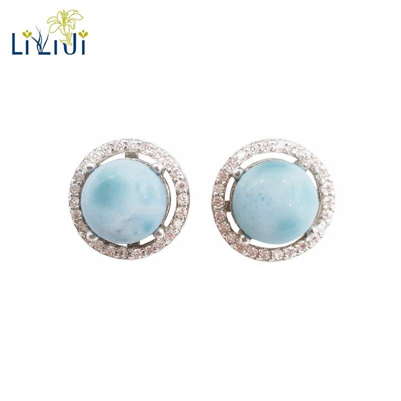 Lii Ji naturel pierre précieuse Larimar classique luxe brillant Zircon réel 925 Sterling argent Stud boucle d'oreille pour femmes bijoux de mariage