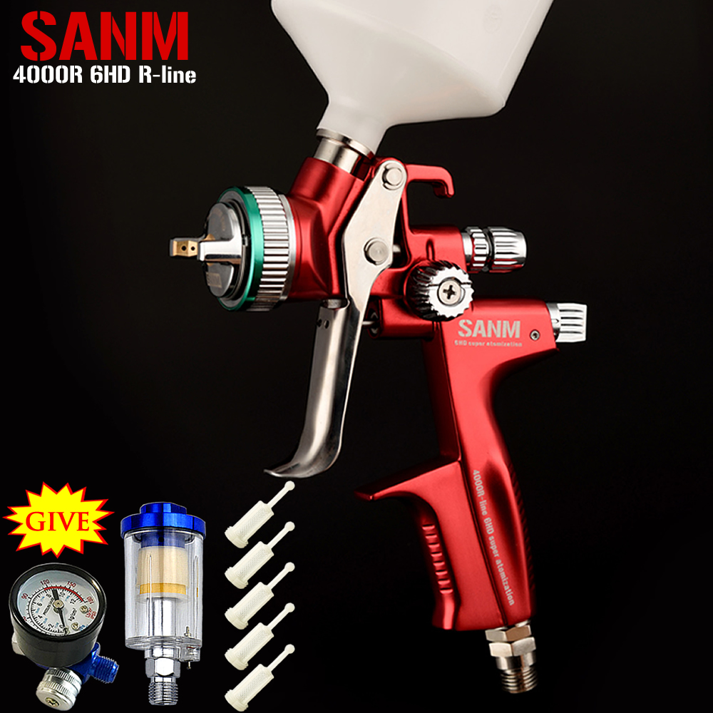 SANM Gules 4000R HVLP 1.3mm nozzle Professional Car Paint Spray Gun Gravity-type Pneumatic Topcoat Spray Gun paint tools forged version jet 5000b hvlp jet gun gravity spray gun with 1 3mm nozzle 5000b rp 4000b rp pneumatic spray gun car spray gun