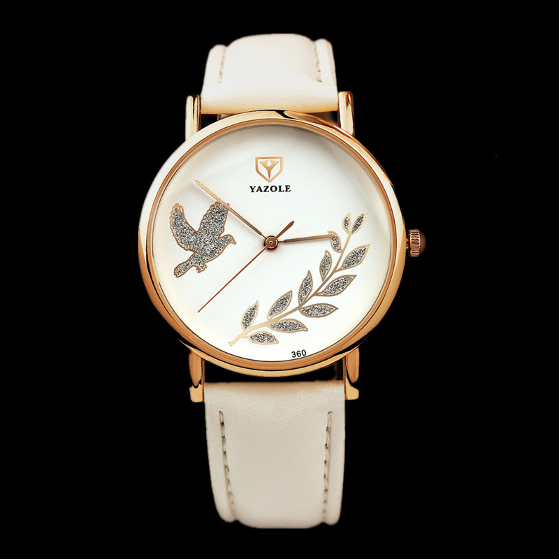 YAZOLE Fashion Rose Gold Watch Luxury Crystal Watch Women Watches Leather Ladies Watch Clock saat bayan kol saati reloj mujer 2018 new arrive fashion golden ladies watch women leather wrist watches diamond gold clock saat relogio feminino bayan kol saati