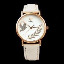 YAZOLE Fashion Rose Gold Watch Luxury Crystal Watch Women Watches Leather Ladies Watch Clock saat bayan