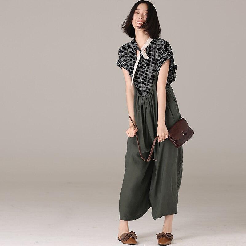 K1875 artístico de gran tamaño cobre amoniaco seda color sólido 9 minutos pantalones de pierna ancha pantalones de falda-in Overoles y mamelucos from Ropa de mujer    2