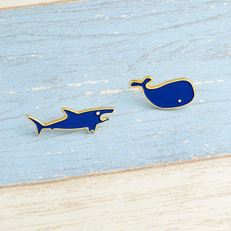 Kehidupan Laut Kartun Pin Hiu Dolphin Puffer Ikan Paus Bros Lencana Ransel Enamel untuk Anak-anak Hadiah Perhiasan Grosir