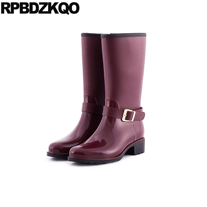 Metal Shoes Cheap Boots 2017 Wine Red Women Autumn Mid Calf Rain Low Heel Round Toe Rainboots Slip On Waterproof Fashion Ladies double buckle cross straps mid calf boots