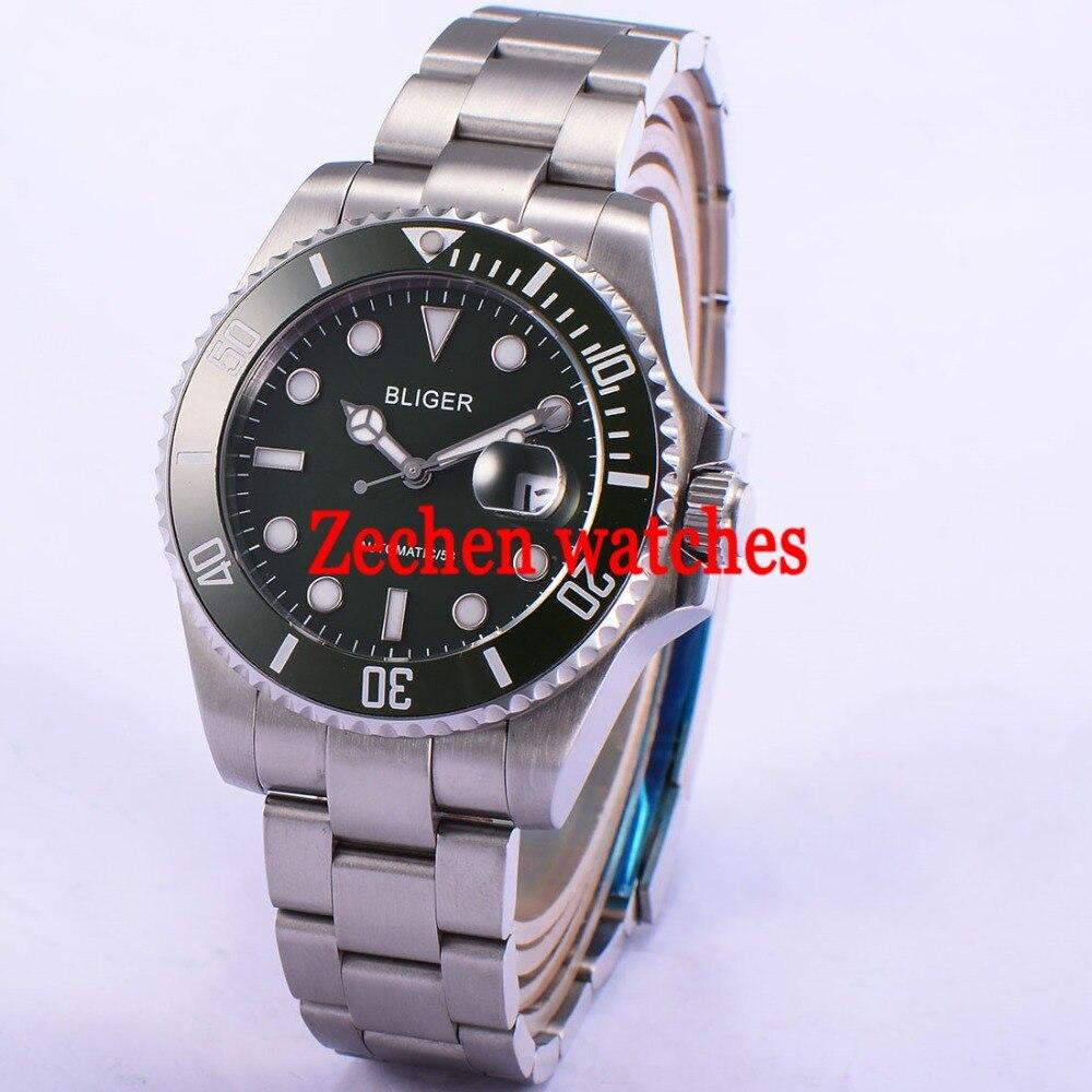 43mm Bliger Date Day Sapphire Glass green dial Automatic Mechanical Luminous Men Watch цена и фото