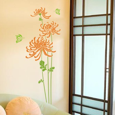 Free Shipping Chrysanthemum Flower Bar Pub Large Glass Wall Decals ...