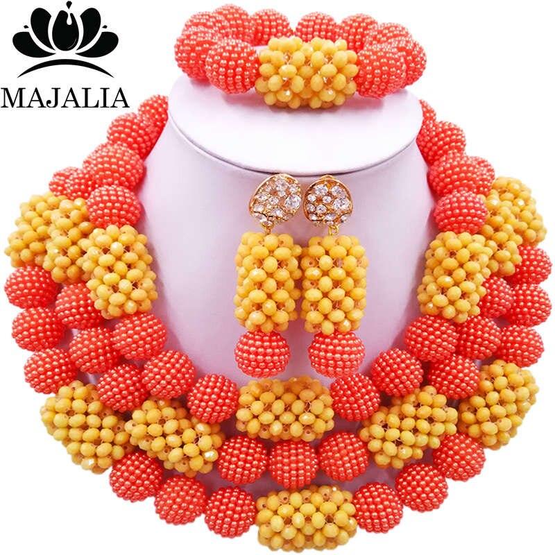 Majalia Classic Fashion Nigerian Wedding African Jewelery Set Orange and Beige Crystal Necklace Bride Jewelry Sets 3SZ024Majalia Classic Fashion Nigerian Wedding African Jewelery Set Orange and Beige Crystal Necklace Bride Jewelry Sets 3SZ024