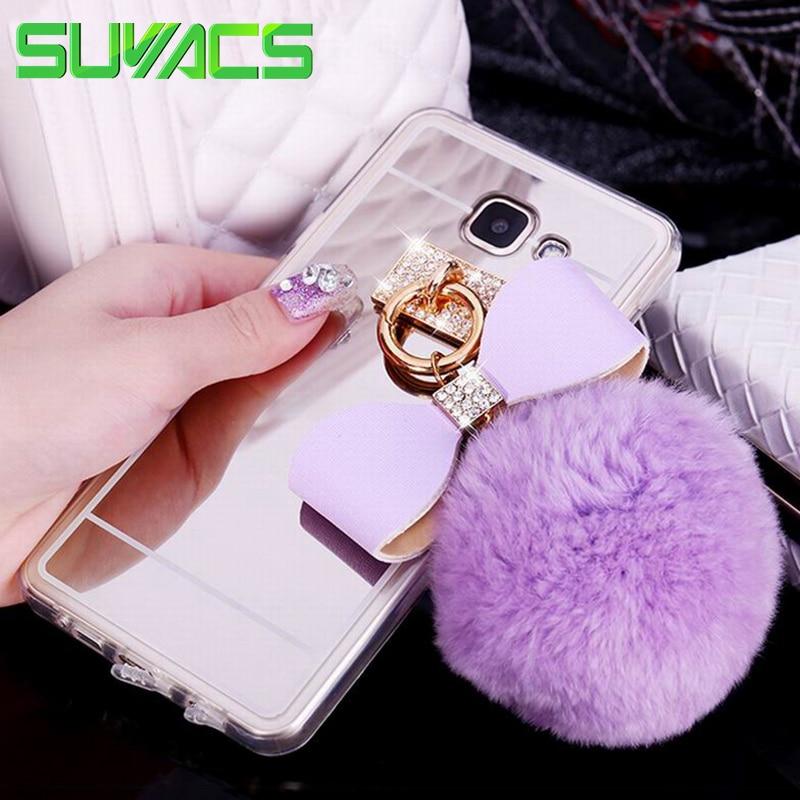 SUYACS For Samsung Galaxy J1 J2 J3 J5 J7 2015 2016 2017 EU J330 Cover DIY Mirror Fur Ball Crystal Bowknot Soft TPU Phone Case