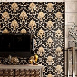 Image 3 - ハイグレード黒ゴールド高級エンボス質感メタリック3Dダマスクの壁紙ロール洗えるビニールpvcウォールペーパー