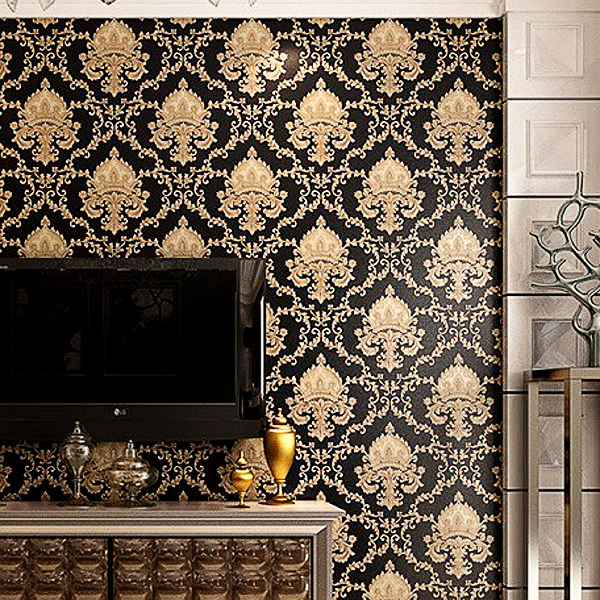 High Grade Black Gold Luxury Embossed Texture Metallic Damask Wallpaper For Wall Roll Waterproof Washable Vinyl PVC Paper In Wallpapers From Home