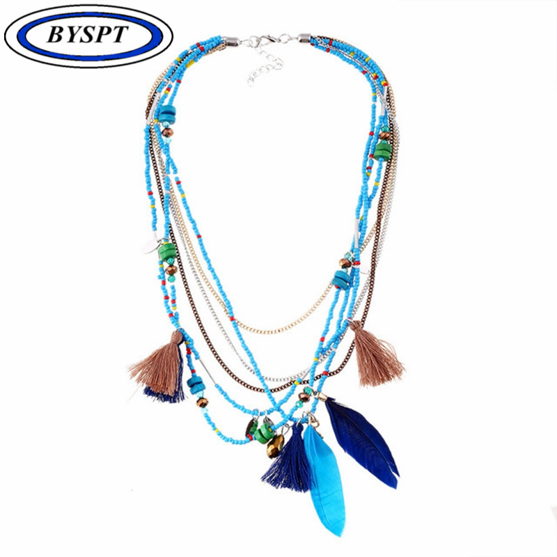 BYSPT Fashion Bohemia Feather Necklaces&Pendants African Seed Beads Chain Statement Necklace Women Collares Ethnic Jewelry Gift