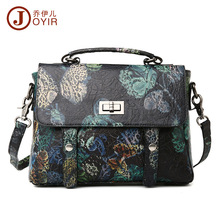 Free shipping 2016 fashion colored drawing print women's genuine leather handbag first layer of cowhide women's cross-body bags