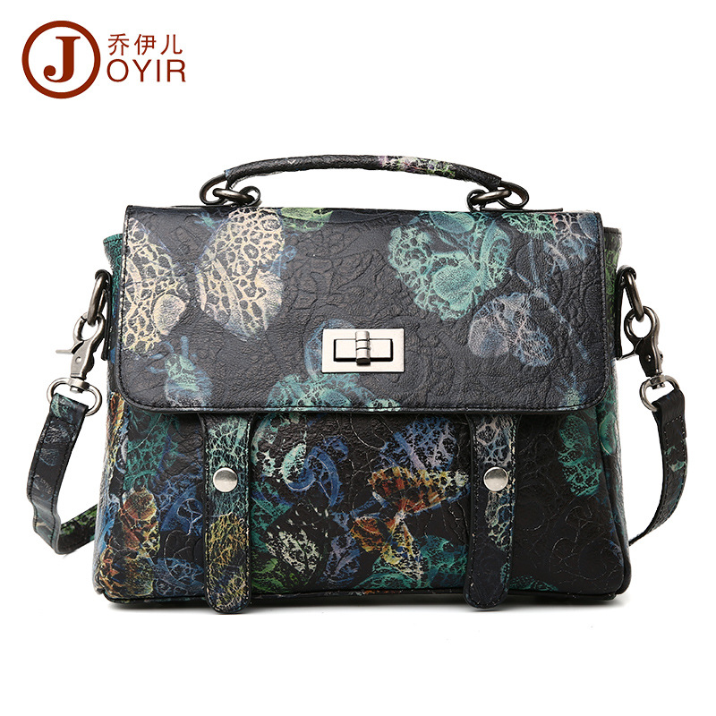 ФОТО Free shipping 2016 fashion colored drawing print women's genuine leather handbag first layer of cowhide women's cross-body bags