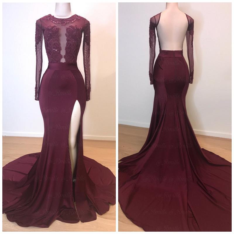 Modest African Burgundy Mermaid   Prom     Dresses   2019 Vestidos De Fiesta De Noche Backless Long Sleeve Evening Gowns Formal   Dress