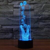 7 colores cambiantes cocodrilo con minions forma 3D lámpara de mesa colorido LED atmósfera decoración lámpara Interruptor táctil Luces de noche