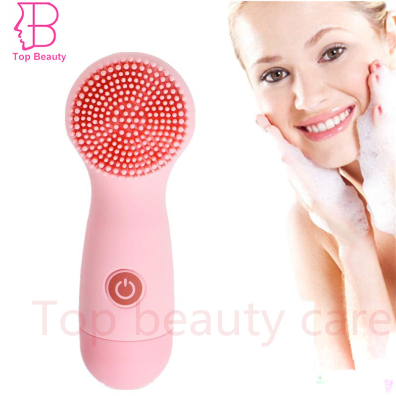 ФОТО TOP BEAUTY Waterproof Silicon Vibrate Facial Clean Sonic Brush Skin Scrubber Massager Makeup Remover Brush Bath Can Also be Used