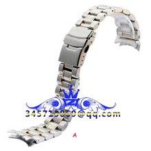 18 20 22 24 мм Серебристый Черный Изогнутый Рот и прямой рот нержавеющая сталь мужские часы ремешок двойной замок браслет со складной застежкой