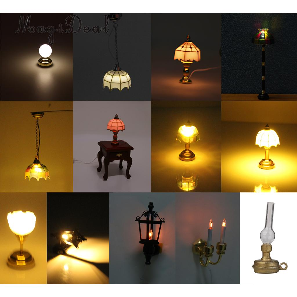 MagiDeal 1/12 Dollhouse Miniature Ball Shape Table Lamp LED Light for Livingroom Bedroom ...