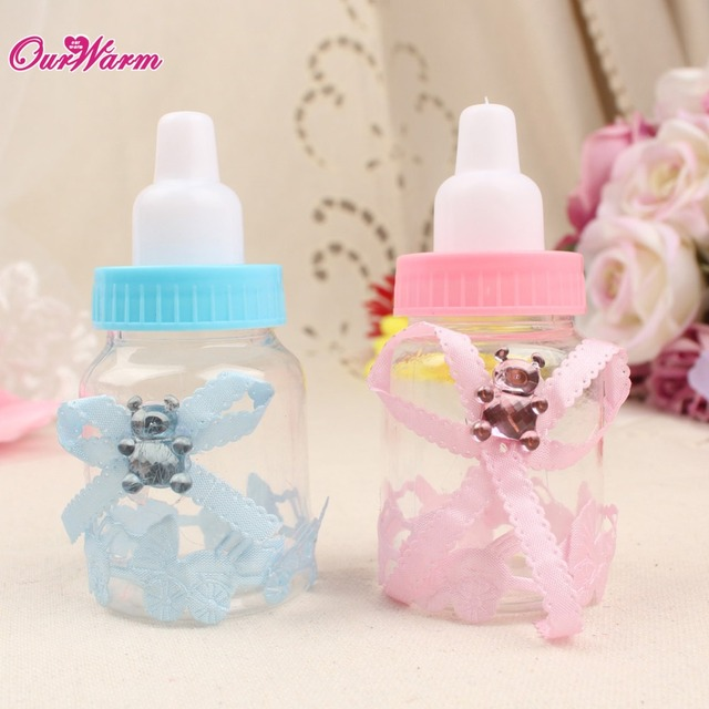 wholesale 50pcs Bottle Candy Gift Box Baby Shower Baptism Christening Birthday Wedding Party Sweets Favors
