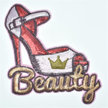 Girls Kids Clothing Patch 3D Sparkly Crown Sequins 210mm High heels Icon deal with it iron on Patches for clothes Diy Stickers(China)