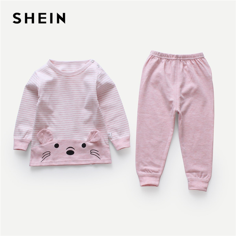 SHEIN Kiddie Pink Striped Cartoon Print Pullover With Pants Toddler Girls Clothes 2019 Spring Long Sleeve Cute Kids Girl Suit girls slogan print tee with striped pants