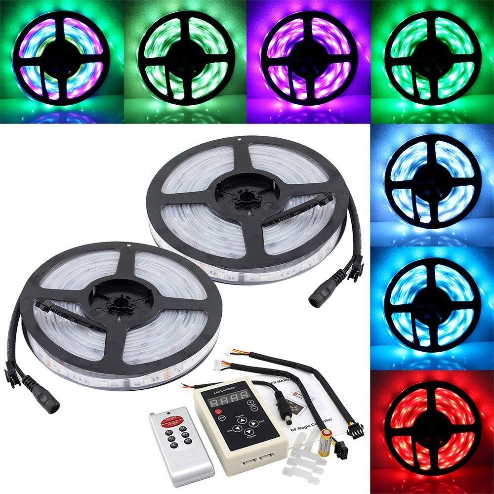 10 M SMD 5050 6803 IC rêve magique rvb couleur LED bande de lumière Flexible IP67 + 133 changement RF télécommande + 12 V 5A pilote