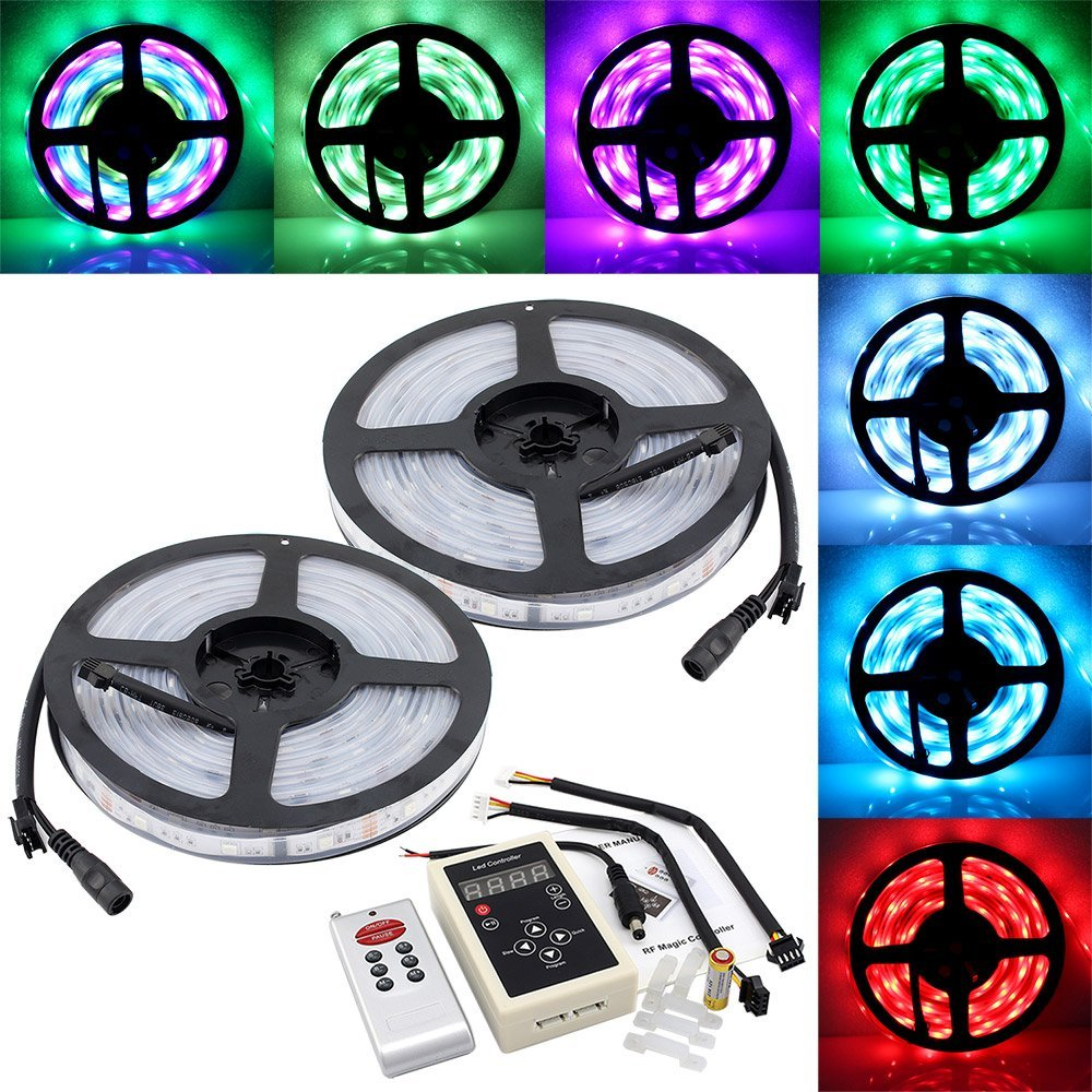 цена на 10M SMD 5050 6803 IC Dream Magic RGB Color LED Color Flexible Light Strip IP67 + 133 Change RF Remote Controller + 12V 5A driver