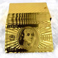 Hot Sale Playing Cards With 24K Gold Leaf Dollar Design Full Deck Poker Game Set Plastic Magic Card Waterproof Cards baralho
