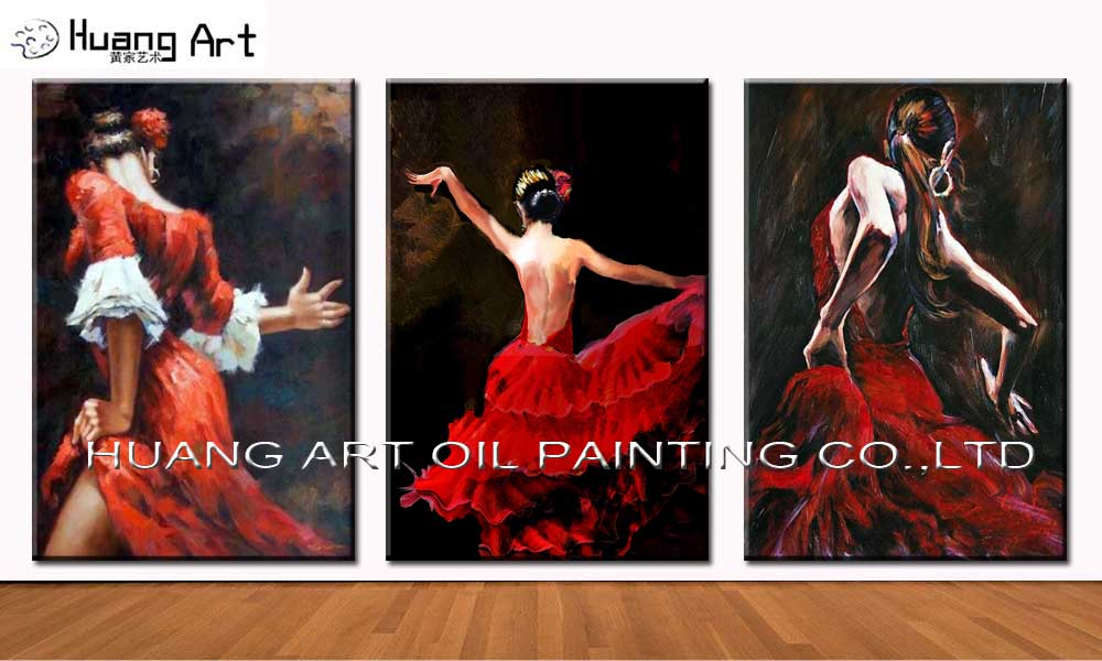 Sexy Red Dress Women Dancing Painting For Art Art Hand-painted High Quality Tender Flamenco Dancer Painting Oil on Canvas