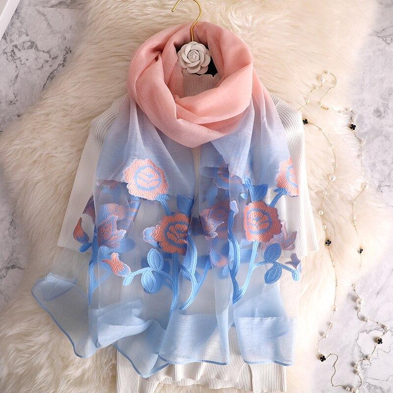 LaMaxaPa 2019 New Fashion Summer Flower Print Women/Lady   Scarf   Lace bandana Shawls and   Wraps   Long Female Echarpe Head   scarves
