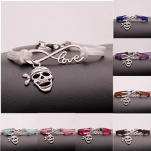 New Hot Ancient Silver Pirate Mask Infinity Love Charm Hand-woven Korean Velvet Rope Bracelet Wrap Leather Fashion Women Jewelry european american style ancient silver football sports charm pendant infinity love weaving bracelet women jewelry holiday gift