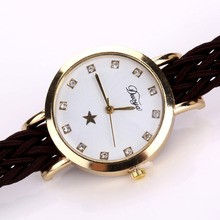 Women's Stylish Gold-Colored Wristwatch with Colorful Leather Band
