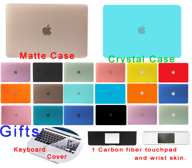 Кристалл Матовый Shell Для Macbook Air 13 Дело Air Pro Retina 11 12 13 15 дюймов Жесткий ноутбука Крышка Защитите Черный A1706 A1707 A1708
