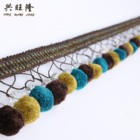 XWL 15M Lot 7cm Wide Pompon Crystal Beads Curtain Lace Trim DIY For Curtain Sofa Decorative