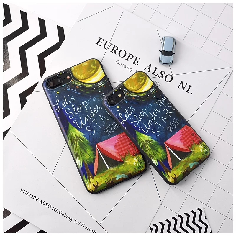 New Starry Night Scene,picking month Girl Cute Phone Cases For Apple iPhone 7 7Plus 6 6G 6S 6Plus pc plastic shell casing