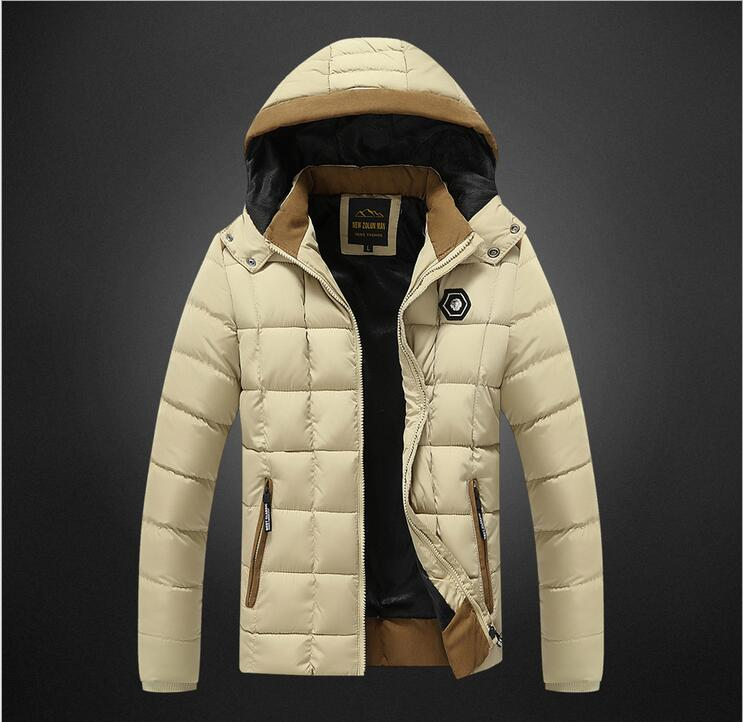 New 2017 Winter Jacket Men Down Cotton Coat Warm Hooded Woof  Parka Stripe Thick Fashion Male Jackets Coats Brand Clothing 3XL down coat winter jacket men hooded parka with fur collar duck down jackets thick warm long outerwear male brand clothing