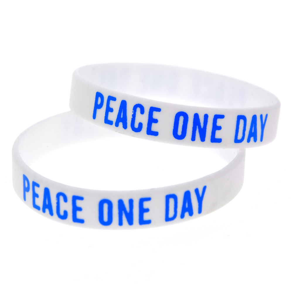 OneBandaHouse 1PC Printed Logo White Wristband Adult Size Peace One Day Silicone Bracelet ...