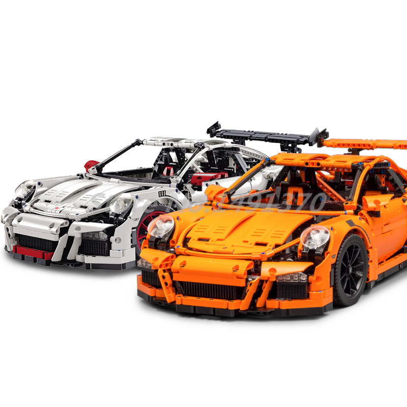 Technic Series Building Blocks Racing Car Orange White Supercar Bricks Educational Toys For Children Christmas Gifts lepin 21004 technic series f40 sports car building blocks bricks educational toys for children gifts compatible 10248