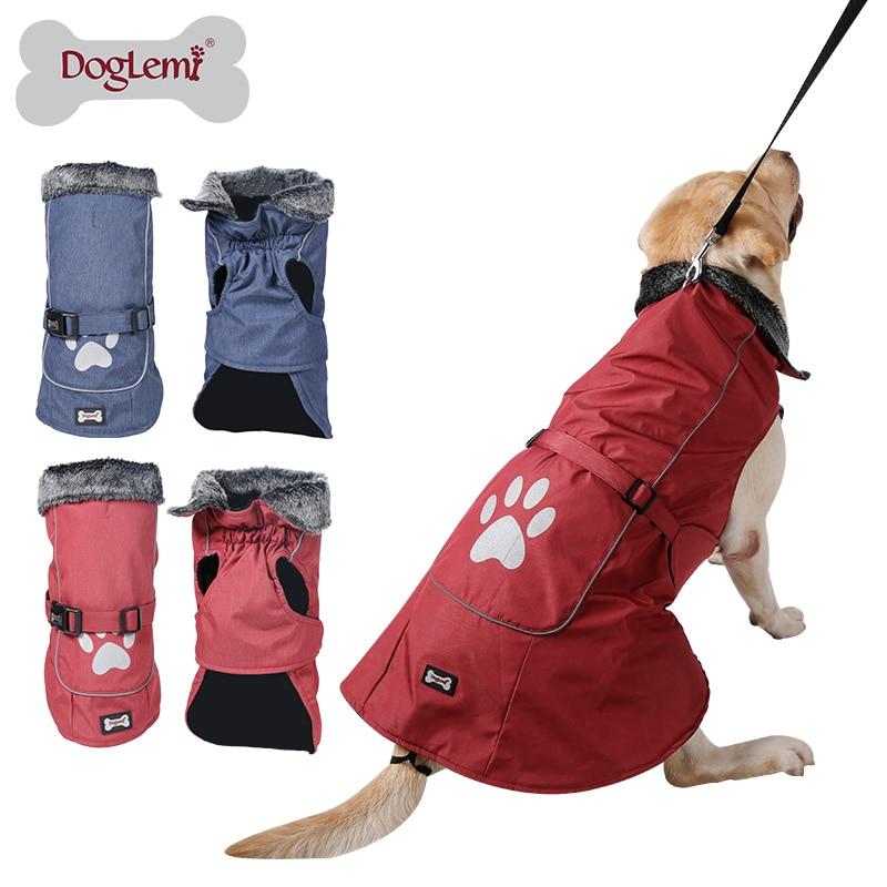 Pakaian Anjing Tahan Air & Reflektif Musim Dingin yang Hangat Kerah Bulu Rompi Jaket Mantel Pakaian Olahraga untuk Anjing Kecil Menengah Besar