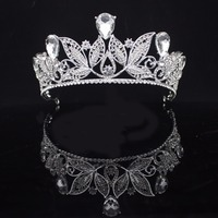Silver Leaves Crystal Baroque Princess Crown Tiaras Bride Women Wedding Party Head Decorations Bridal Hair Jewelry