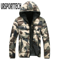 2017 Brand Mens Winter Jacket With Hoodies Outwear Warm Camouflage Coat Male Print Winter Coat Men