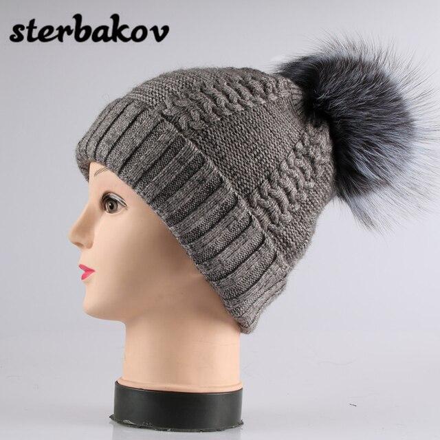 08f986b993da09 2017 Fashion 18cm Large Pom pom Winter Hats Knit Hats Genuine Fox Fur  Pom-pom