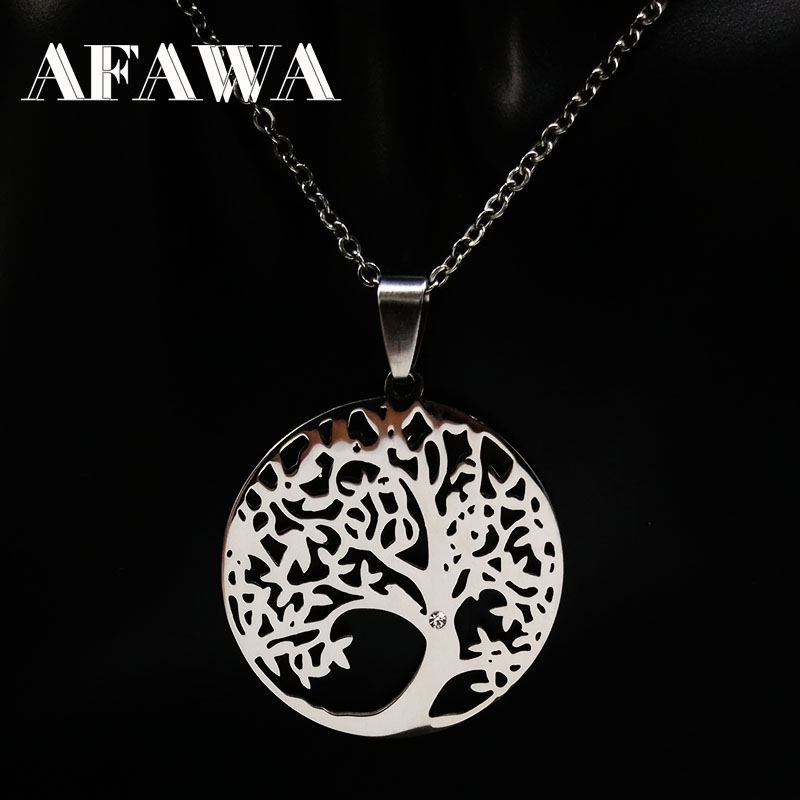 2019 Stainless Steel Tree of Life Necklaces Tree Bohemian Necklace & pendants Jewellery For Women or Men Gift collane donna N309