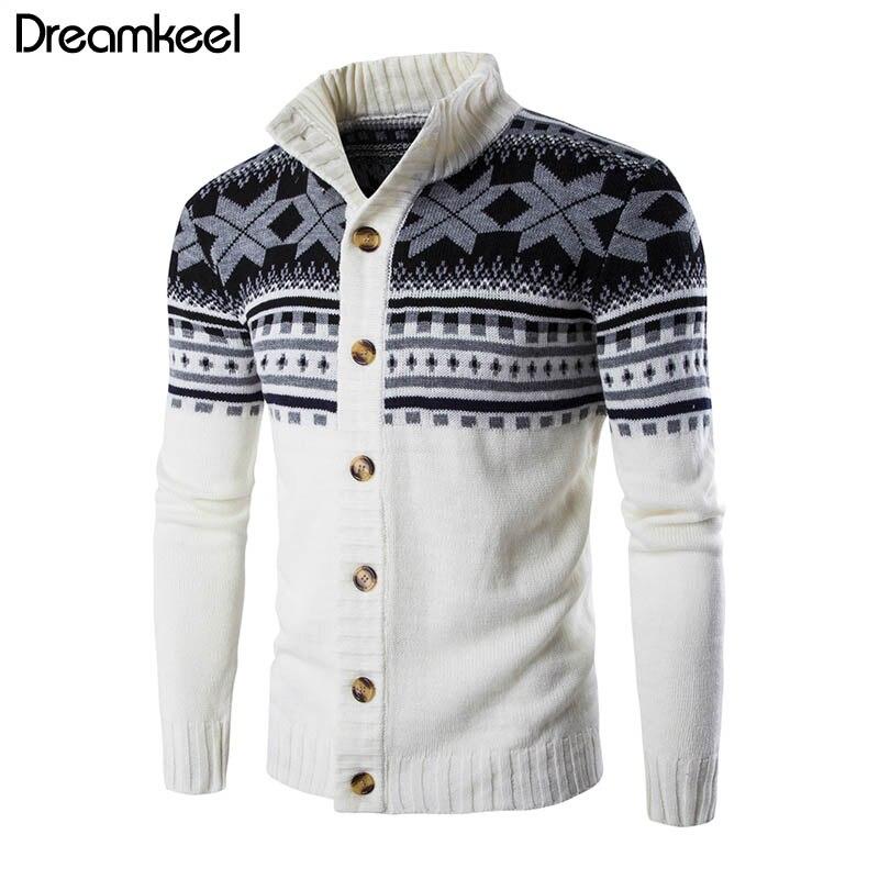 Herren Strickjacke Pullover 2019 Herbst Warme Weihnachten Pullover Männer Mode Gedruckt Jacke Mantel Casual Stehkragen Stricken Y Warm Und Winddicht